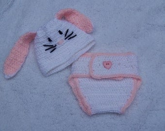 Diaper Cover and Hat (Bunny)