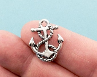 Ship Anchor Charm. 20pcs Antique Silver Tone Nautical Anchor Charm 22x14mm. Anchor Pendant. Creative part for jewelry making. - (20 - 0008M)