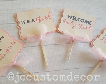 Its A Girl Cupcake Toppers, Baby Girl Cupcake Toppers,Baby Shower Girl Cupcake Toppers,Girl Birthday Cupcake toppers-Baptism toppers-12pc