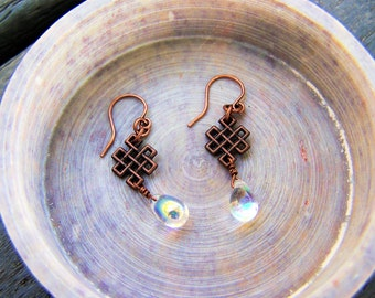 antiqued copper earrings with dangling copper Celtic knot and crystal drop