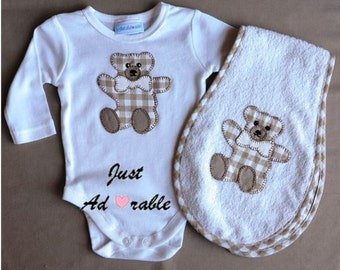 Baby boy clothes, Baby Boy Gift set, Baby Shower Gift, Appliqued Bear on Baby Onsie and Burper. Size 0 – 3 months  ON SALE