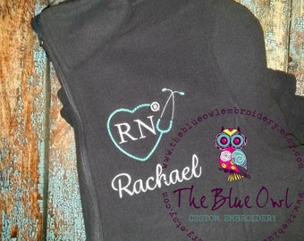 Nurse Heart Stethoscope Custom Monogrammed Full-Zip Fleece Jacket
