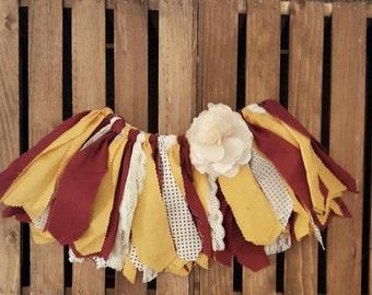 Fabric Tutu, Girl's Scrappy Fabric Tutu, Gold and Burgundy, Gold and Maroon fabric tutu