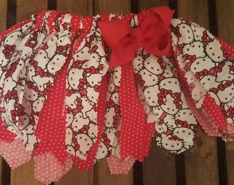 Hello Kitty fabric tutu, Birthday fabric tutu, Red and White Fabric Tutu, fabric tutu
