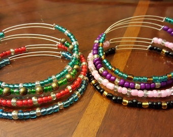 Customized adjustable memory wire bracelet
