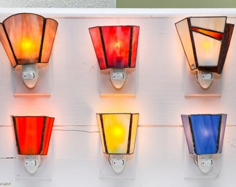 Simple nightlights in Tiffany stained glass
