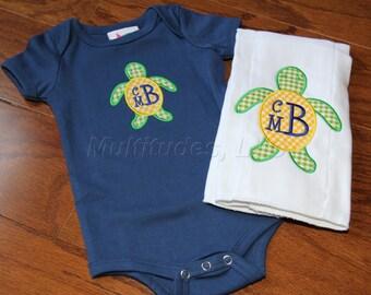 Monogrammed Turtle Applique Onesie/Burp Cloth Set