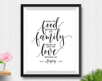 Printable Bless The Food Before Us The Family Beside Us And The Love Between Us Amen Wall Art, Kitchen Decor, Kitchen Art (Stck326)