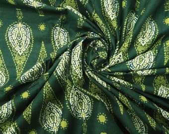 """Green Leaf Printed Sewing Fabric 39"""" Wide Indian Fabric Dressmaking Cotton Fabric Green Apparel Material Sew Cotton Fabric By 1 Yard ZBC4114"""