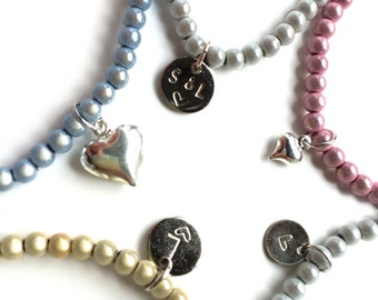 Miracle/illusion bead bracelet, large range of colours with either a large/small or stamped heart charm