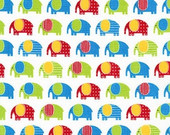 Elephant fabric, Robert Kaufman, Urban Zoology Minis, Green, Red, 100% Cotton UK Sales Only