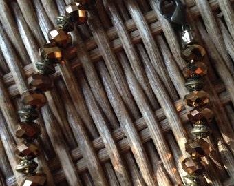 Antique gold, faceted bead bracelet