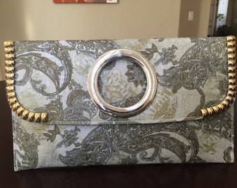 Paisley print moss green envelope clutch/green clutch/printed clutch/everyday clutch/free shipping