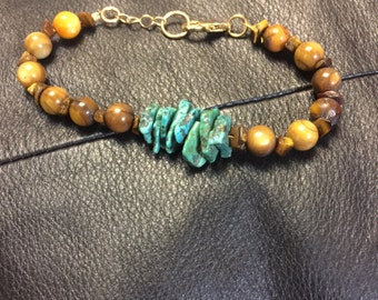 Tiger eye and turquoise bracelet