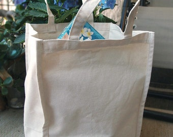 "Large Canvas Tote Bag, 14"", Grocery Tote"
