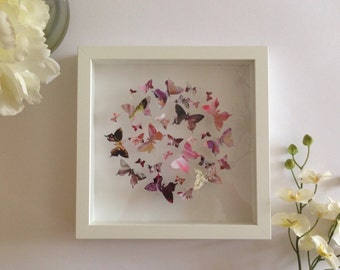 Handmade Personalised 3D Butterfly Swarm Frame