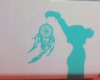 Dream Catcher Girl Silhouette Vinyl Decal