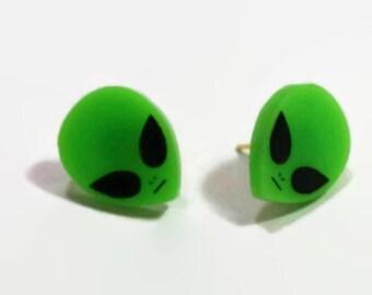 Green Alien Stud Earrings