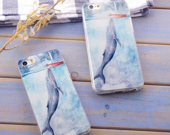 whale animal iPhone 6s case iPhone 6 case iPhone 6 plus case iPhone 5 case iPhone 5s cute blue whale in sea red boat dream-like