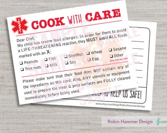 Medical Alert Dining Card, Food Allergy Chef Card, Printable Food Allergy Card, Food Allergy Alert, PDF Allergy Card, Medical Alert Card