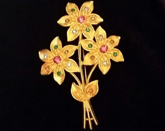 Flower bouquet brooch with multi color faux gems