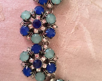 Beautiful blue and green crystal/ rhinestone statement necklace