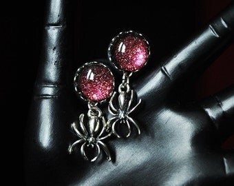 12mm spider of plugs with pink glittering stone