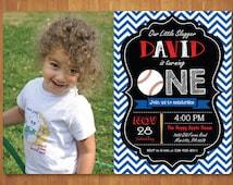 Baseball Birthday Invitation with Photo. 1st First Birthday Boy Baseball Theme Party Blue Red Chevron Stripes Chalkboard. Printable Digital.
