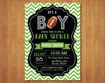 Football Baby Shower Invitation. Boy Baby Shower Invitation. Sports Baby Shower Invite. Chalkboard. Printable Digital.