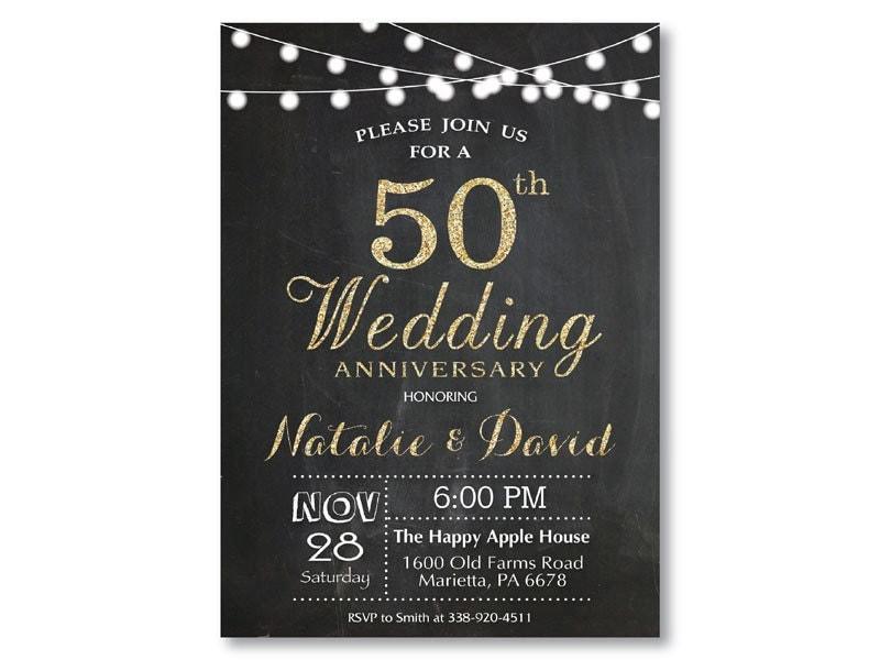 Surprise Wedding Invitation Wording: 50th Wedding Anniversary Invitation. Gold Glitter. Chalkboard