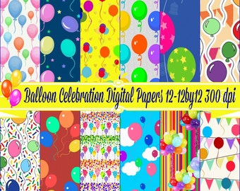 Balloon Celebration Colorful Digital Paper Pack, Digital Download Birthday Paper, Cupcake Wrappers, Commercial OK