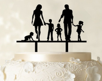 Wedding Cake Topper Bride And Groom With Kids Custom
