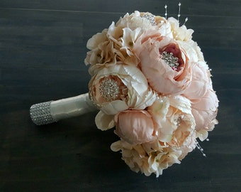 "Blush Pink & Ivory Peony/Hydrangea 10"" Wedding Bridal Bouquet - Made To Order"