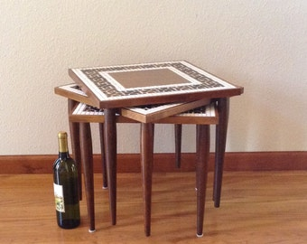 Mid Century Side Tables, Stacking Tables, Tile Tables, Mosaic Tables, End Tables, Plant Stands, Vintage Table