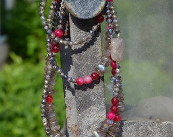 Labradorite and Magenta Agate Long Beaded Necklace