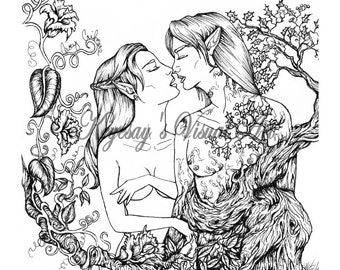 adult fantasy coloring page digital download digi print stamp elf and treant romance