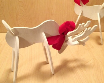 White Reindeer Handmade Wood Christmas Decoration