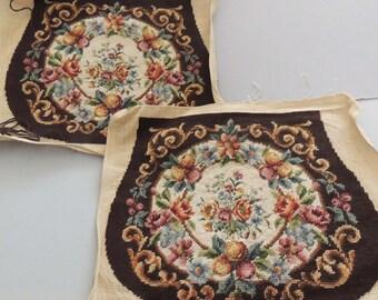 Vintage Unfinished Floral Needlepoint Handbag / Floral Petite Point / Needle Craft / Floral Needlework / Unfinished Needlepoint
