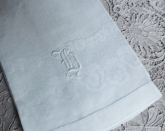 "Vintage White Linen Damask Towel with Pansies and ""H"" Monogram / Floral Damask Towel / Monogram Towel / Wedding Gift / Bath Linen / Pansies"