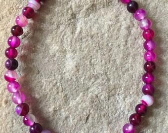 Pink agate 4mm gemstone bracelet