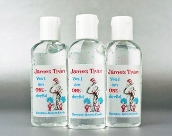 Personalized. Dr Seuss 1st birthday. 1oz hand sanitizer
