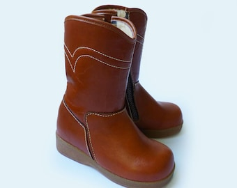 70s Leather Lined Boots Made in France EU 24