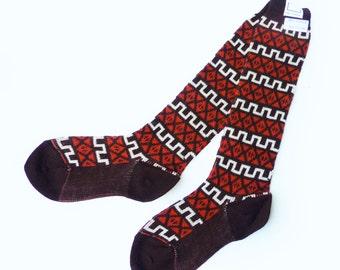 70s Below-knees Brown & Orange Patterned Socks British Made