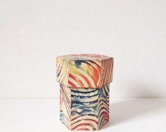 Vintage marbled paper storage box