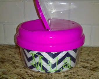 Monogrammed Pink Snack Container