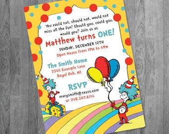 Dr. Seuss Inspired First Birthday Invitation