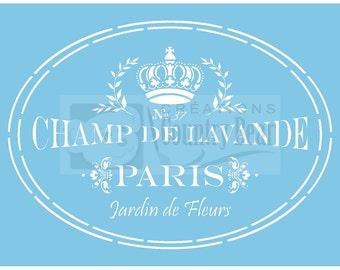 Stencil - Champ de Lavande  -   ST-852-1  -  Linda Lock