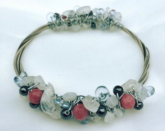 Guitar String Bangle with Hematite, Moonstone, Rhodochrosite & glass accents