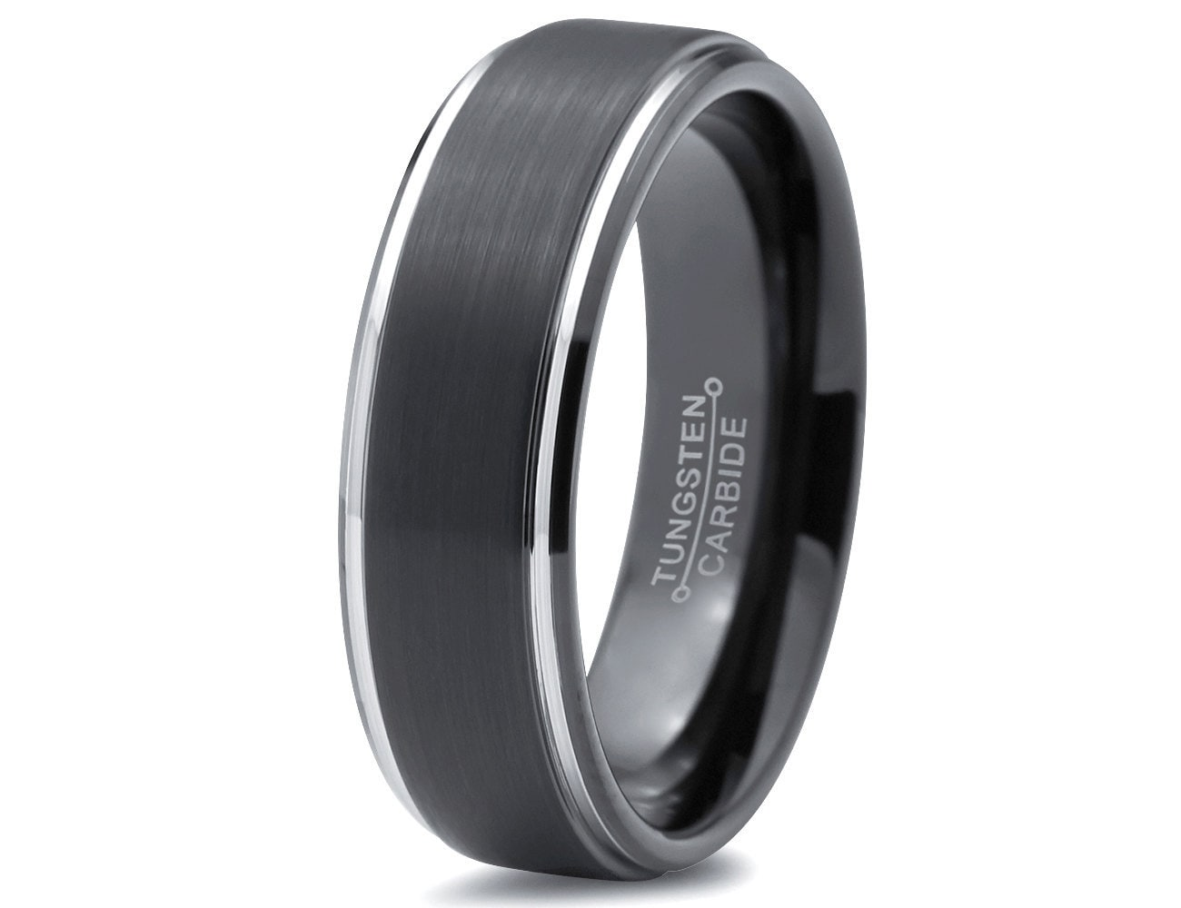 black and silver tungsten wedding band black tungsten