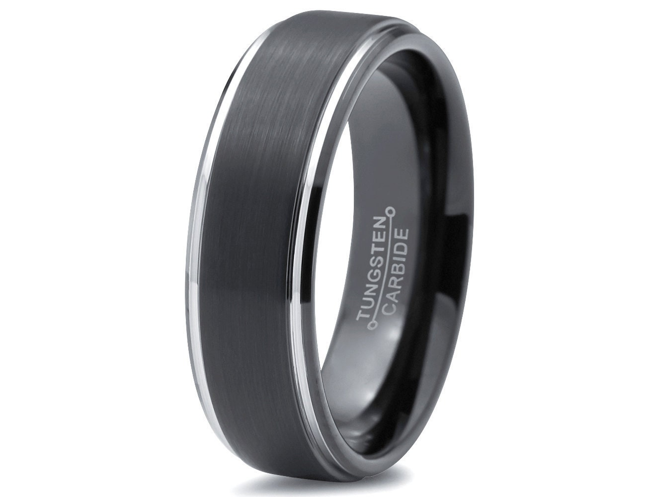 Black and Silver Tungsten Wedding Band Black Tungsten Wedding Ring Men s